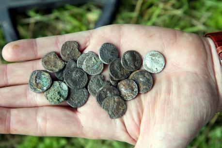 roman coins hoard metal detecting