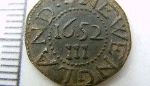 threepenny coin metal detected by metal detector